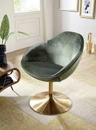 wohnling loungesessel sarin grün gold wl5 921 aus samt und