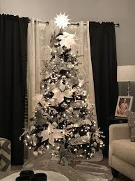 Apartment Christmas Decorating Ideas Lovely Black Tree With Silver And White Decorations Decorated By