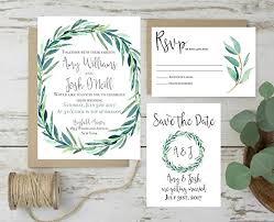 Amazon Wedding Invitations Set Rustic Invites Eucalyptus Invitation Of 10 Plus Envelope Only Matching Items