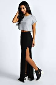 long black skirt with side slit casual with sneakers google
