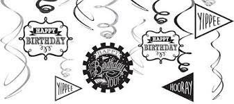 Chalkboard Dots Birthday Swirl Decorations 12ct
