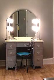 Furniture Rustic Home Design Of Small Makeup Vanity Designed With Round Mirror And Lights Also Black Wrought Iron Chair Blue Seat Combine