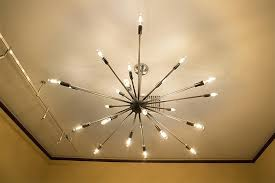 hanging light bulbs of contemporary chandelier stock photo best