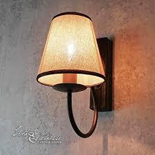 rustikale wandleuchte stoff schirm braun beige shabby landhausstil e14 wandle wohnzimmer schlafzimmer