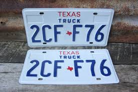 100 Truck License Vintage TEXAS Plate Matched Set 1980s 90s Era TX Etsy