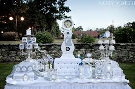 White And Silver Dessert Table