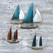 wanddeko segelboot metall garten wohnzimmer terasse