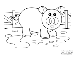 Free Coloring Pages Without Downloading Cute Piggy Kids Printable Page