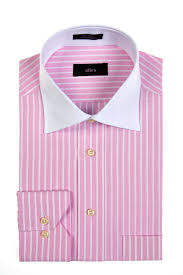 alara white collar dress shirt with pink stripes and barrel cuffs