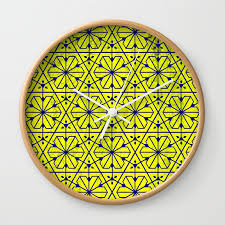 V26 Moroccan Pattern Design Yellow Carpet Texture Wall Clock