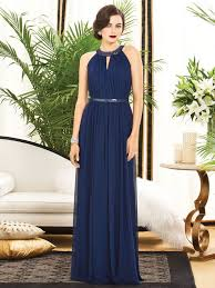 navy blue halter bridesmaids dress with sequin detail at waist and