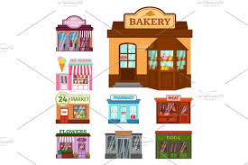 Vector flat design restaurant shops facade storefront market building architecture showcase window Illustrations