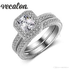 2019 Vecalon Vintage Female Ring Princess Cut 2ct Simulated Diamond