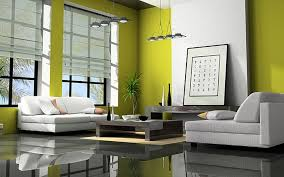 home interior with green lime wall paint white sectional modern