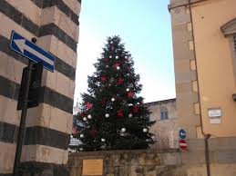 As You Can See Its A Tall Tree Full Of Big White Christmas Balls And Red Stars Really Nice It Give Cozy Atmosphere In The Square