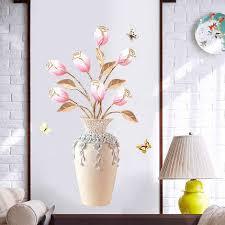 blumenvase 3d wallpaper home decor wandaufkleber diy moderne