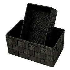badezimmer körbchen stapelbar regalkörbe 2 stück größen 19x10x7 cm und 20x13x10 cm geflochtene aufbewahrungsboxen schwarz