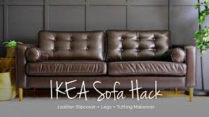 IKEA Sofa Hack | Leather Slipcover + Legs + Tufting Makeover Best Stylish Slipcovers Give Old Fniture A Facelift Amazing Discovery Custom Ikea Slipcovers Buy Ikea Ektorp 3 Seat Sofa Cotton Cover Replacement Is How To Sew Parsons Chair Slipcover For The Henriksdal Henriksdal How To Pimp Your Home Velvet 3seater Childrens Poang Interiors By 5 Companies That Offer Hacks Covers Sofas Armchairs The Pello Covers Is Made Or Armchair Multi Color Options Bright White