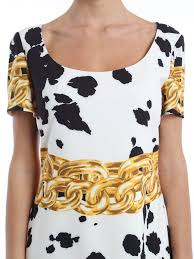 animal and chain print dress by moschino boutique knee length