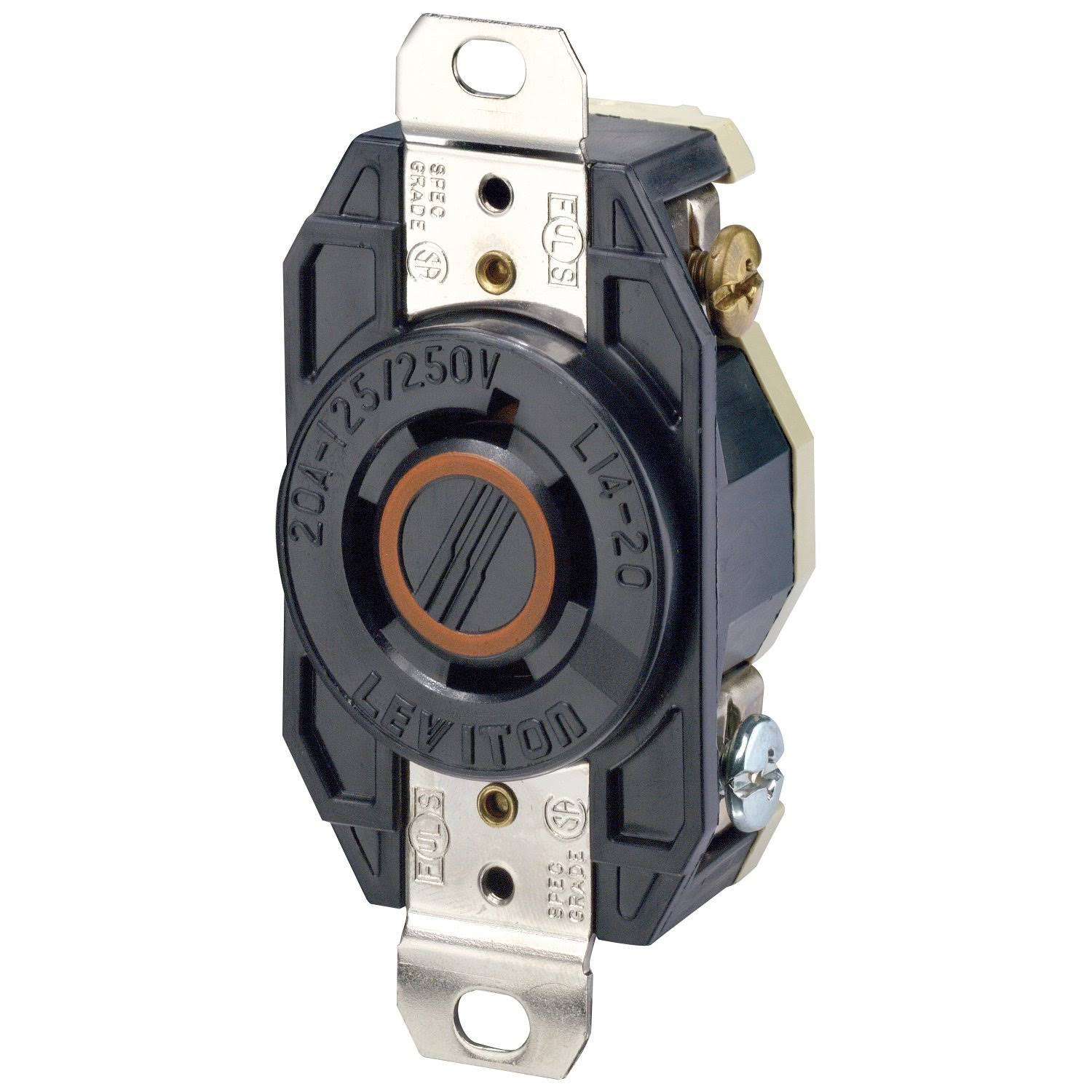 Leviton Flush Mounting Locking Receptacle - Black, 20 Amp, 125/250V