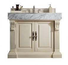 42 inch single bathroom vanity vintage vanilla finish with carrara