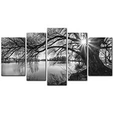 5 Pieces Modern Canvas Painting Wall Art The Picture For Home Decoration Black And White Tree