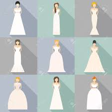 Brides in different styles of wedding dresses made in modern flat vector style Choose your