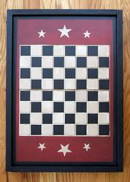 Painted Vintage Wooden Checker Game Board With Three Stars On Each End