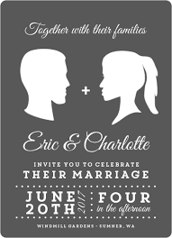 Vintage Silhouette Wedding Invitation Postcard By WeddingPaperie