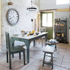 Kitchen Rustic French Country Tables Design With Exposed White Stone Wall Also Blue Painted Island Table Over Glass Hanging Lamp Cool Ways