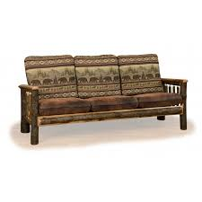 Rustic Hickory Faux Leather Sofa