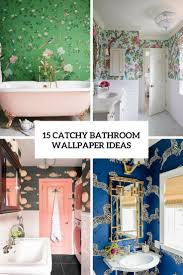 15 Catchy Bathroom Wallpaper Ideas - Shelterness Fuchsia And Gray Bathroom Wallpaper Ideas By Jennifer Allwood _ Funky Group 53 Bold Removable Patterns For Small Bathrooms The Astonishing Shabby Chic For Country Vintage Of Bathroom Wallpaper Ideas Hd Guest Decor 1769 Aimsionlinebiz Our Kids Jack Jill Reveal Shop Look Emily 40 Best Design Top Designer Hunting 2019 Dog
