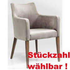 kare design polsterstuhl mit armlehne mode velvet grau samt