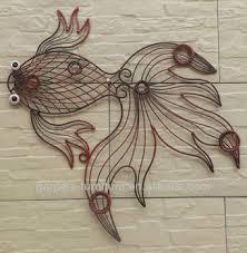 Wrought Iron Wire Animal Metal Fish Wall Art Decor