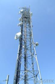 cell phone tower with blue sky