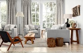 wohnzimmer in grau couchtisch beistelltisch rusti