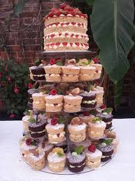 Victoria Sponge Wedding Cake And Cupcake Pyramid