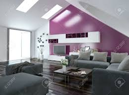 Grey And Purple Living Room by Modern Apartment Living Room Interior With A Purple Accent Wall