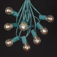 clear satin g30 globe outdoor string light set on green wire
