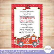 100 Fire Truck Template Party Invitation Truck Party Invitation Etsy