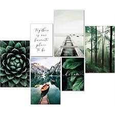 artpin moderne poster set natur bilder wohnzimmer deko schlafzimmer wanddeko ohne bilderrahmen collagen wald holz grün 4x a4 2x a5 w8