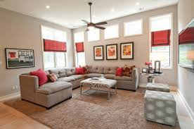 Inspiring Neutral Living Room Color Ideas With Ceiling Fan Lightings Completed Sectional Sofa Bed On