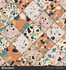 Seamless Terrazzo Pattern Hand Crafted And Unique Vector Repeating Background Granite Textured Shapes In Vibrant Colors By Barmaleeva
