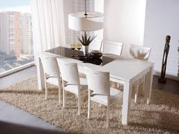 Dining Room Decoration Ideas With White Expandable Table Set On Cream Carpet Plus Chandelier