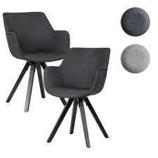 finebuy esszimmerstuhl 2er set mit armlehnen 54x85x58 cm stoff küchenstühle modern mit schwarzen beinen schalenstuhl gepolstert