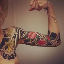 Lotus And Carp Japanese Sleeve Tattoo