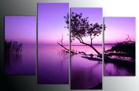 Canvas Art Extra Large Purple Toned Lake Scenic Wall Picture Inch 4 Panel