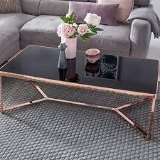 wohnling design ouchtisch glasplatte schwarz gestell kupfer 120 x 60 x 41 cm wohnzimmertisch verspiegelt sofatisch modern glastisch kaffeetisch