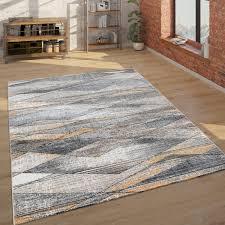 teppich wohnzimmer kurzflor modern mit geometrischem muster in grau braun gelb