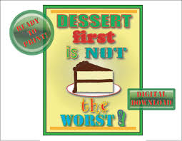 Retro 50s Sign Printable Dessert First Diner Style Kitchen